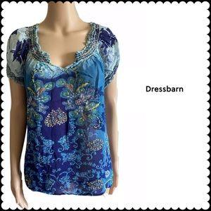 Dressbarn Floral Blouse Sz 1X Short Sleeve Top